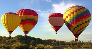 Four hot air balloons